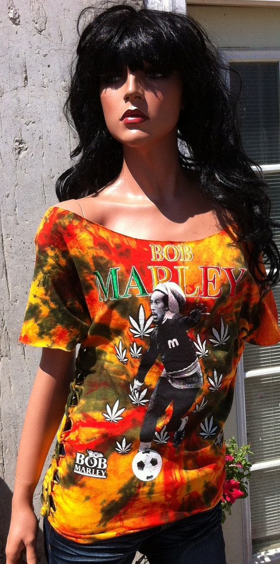 Tie Dye Bob Marley Shredded Shirt