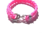 Bright Pink Braided Surf Utility Bracelet - Silver and Neon Pink Woven Rope Bracelet