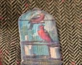 Retro/Vintage Birdcage Pin/badge/Brooch // Shrink Plastic Brooch/Badge