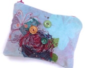 SUMMER SALE 25% OFF Embroidered zipped purse, handprinted and hand dyed velvet with lace and butterfly design