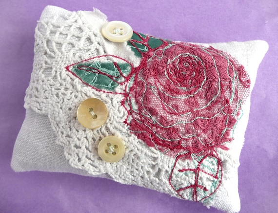 Linen lavender sachet, embroidered lavender sachet, white linen and vintage lace lavender sachet