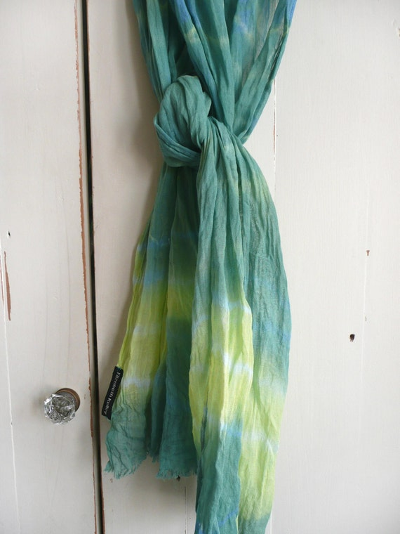 Tie dyed cotton scarf - hand dyed green, blue and yellow cotton scarf - light weight scarf