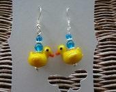 Rubber duck beaded earring yellow glass bead