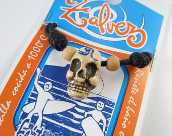 SURFER SKULL with tatoo. one wave.   pendant for surfers by ZALVEZ