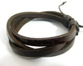 Man leather bracelet made by three brown leather  L30