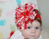 Christmas Hair Bow - over the top red and white candy canes
