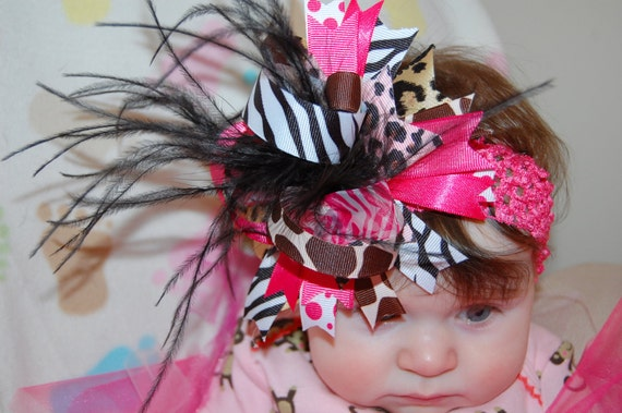 Over the top hair bow - Hot pink and Safari prints