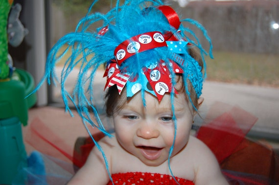 Thing 1 Thing 2 Over the Top hair bow