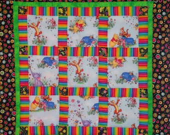 Winnie the Pooh Patchwork Baby Quilt.  Bright colors, Pooh, Eeyore and Tigger.  Light quilt for boys or girls.  Modern Bright Quilt