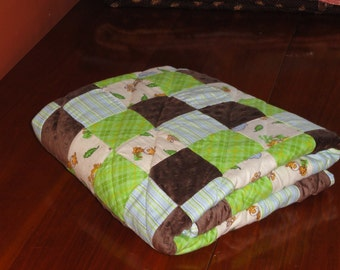 Patchwork Flannel and Minky Jungle Animals Baby Quilt, Soft greens, browns and blues