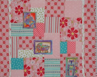 Cyber Monday Clearance Priced.  Soft Flannel Patchwork and Applique Baby Quilt, Featuring Kitty Cats
