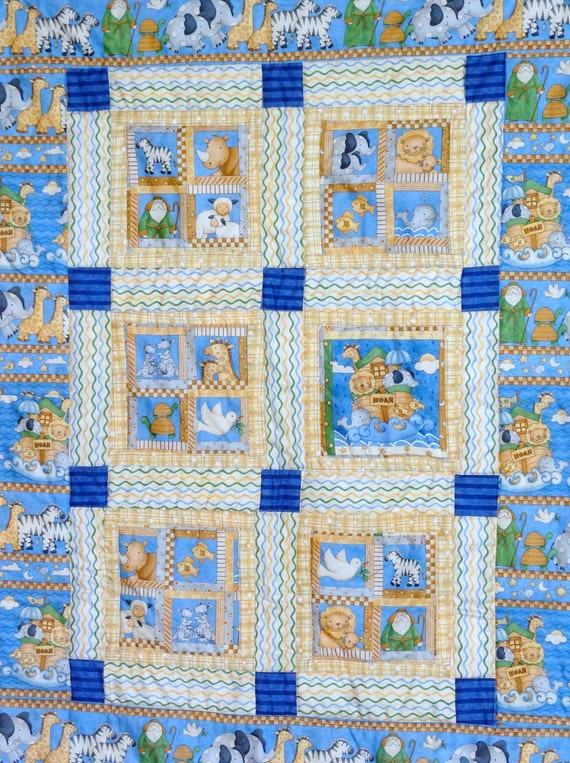 Noahs Ark Baby Quilt, Pieced Handmade Quilt with Flannel Backing.  Cute