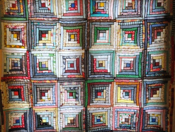 Traditional Vintage Scrappy Log Cabin Quilt