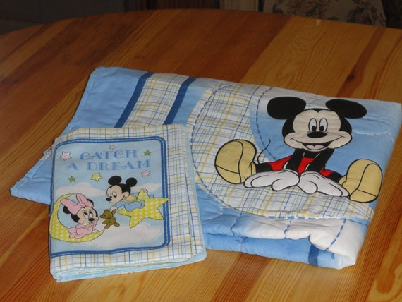 Sleepy Time Mickey Mouse Little Boy Blue Baby Quilt