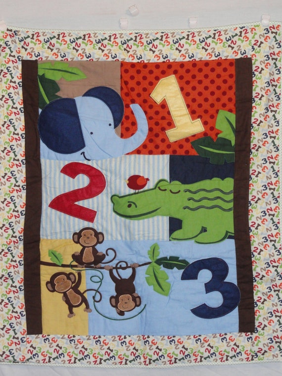 1 2 3 Counting Jungle Animals Baby Quilt in Bold colors Blue