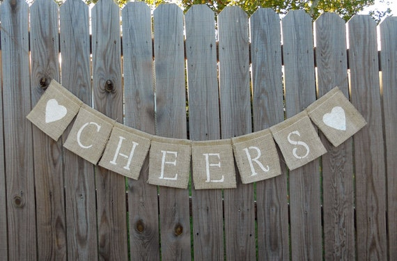 Cheers Brown Burlap Banner for the Home, Christmas Decoration, Baby Showers decor and more