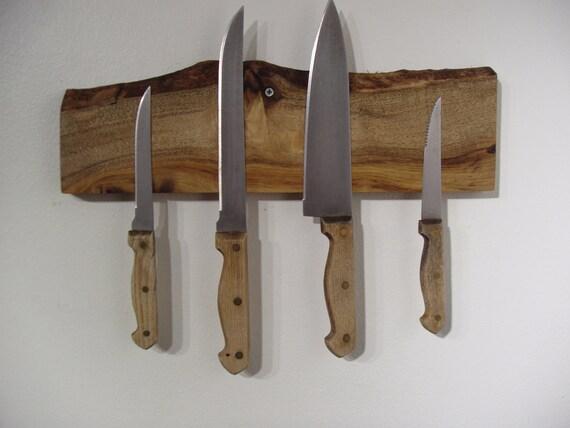 Live edge magnetic knife rack in knotty Alder