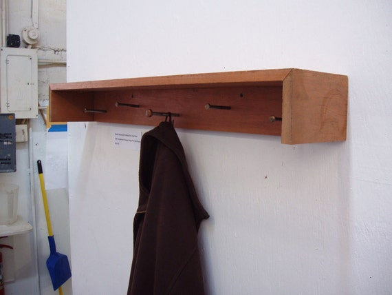 Rustic Industrial Shabby Chic Coat Rack with Vintage Door Hinge Pin Hooks.  Free Shipping.