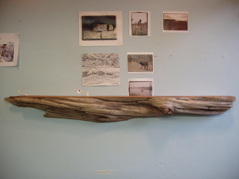 Driftwood pacific red cedar mantle shelf for Driftwood wall shelves