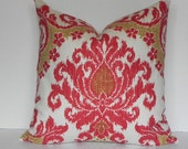 SALE-Decorative Pillow Cover 20X20 Waverly Home Decor Fabric-Throw Pillow-Accent Pillow-Living Room Pillow-Red-White