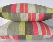Striped Braemore Decorative Pillow Cover-20X20-Home Decor Fabric-Throw Pillow-Toss Pillow-Grey-Pink-Green