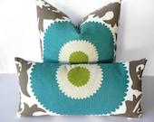 Suzani BOTH SIDES 10X20 Fahri Pillow Cover-Indoor-Outdoor-Designer Home Decor Fabric-Throw Pillow-Accent Pillow-Lumbar Pillow-Teal-Lime