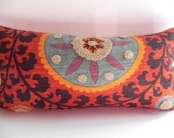 Suzani 10X20 Tribal Lumbar Pillow Cover Toss Pillow Throw Pillow Living Room Pillow