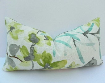 Floral Braemore Decorative Pillow Cover 10X20-Home Decor Fabric-Throw Pillow-Lumbar Pillow-Grey-Turquoise-Green