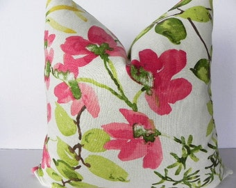 Floral Braemore Decorative Pillow Cover-20X20-Home Decor Fabric-Throw Pillow-Living Room Pillow-Grey-Pink-Green