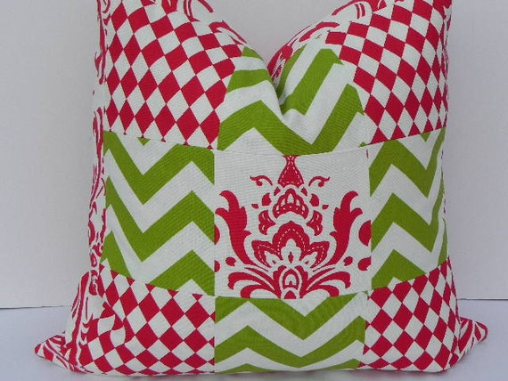 Sale - Christmas Patchwork 20X20 Pillow Cover-Premier Prints Home Decor Fabric-Chartreuse Green Lipstick Red-Throw Pillow-Zig Zag Pillow