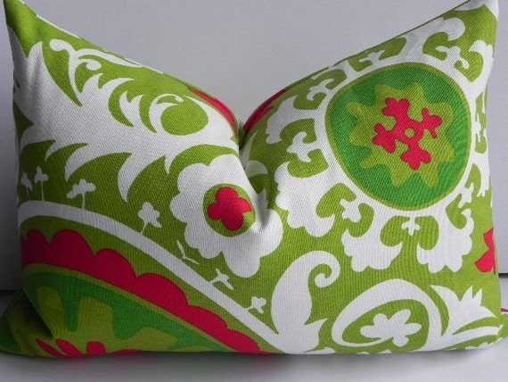 Christmas 14X20 Suzani Pillow Cover Home Decor Fabric-Chartreuse Green-Red-White-Holiday Pillow-Premier Prints