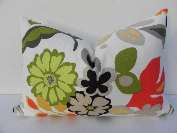 Floral Braemore Decorative Pillow Cover 10X20-Home Decor Fabric-Throw Pillow-Lumbar Pillow-White-Orange-Green