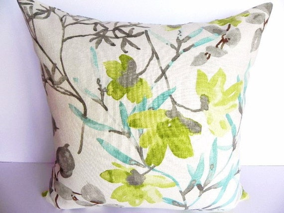 Floral Braemore Decorative Pillow Cover 20X20-Home Decor Fabric-Throw Pillow-Living Room Pillow-Grey-Turquoise-Green