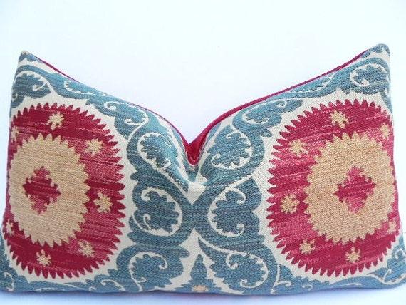 Suzani 14X20 Pillow Cover Designer Home Decor Fabric-Throw Pillow-Accent Pillow-Lumbar Pillow-Red