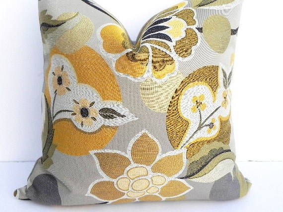Floral grey decorative pillow cover 20x20 home decor by for 20x20 living room