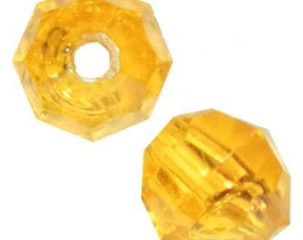 8mm Acid Yellow Faceted Beads - 1,000 Beads