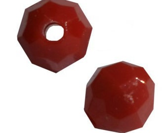 8mm Red Opaque Faceted Beads - 1,000 Beads