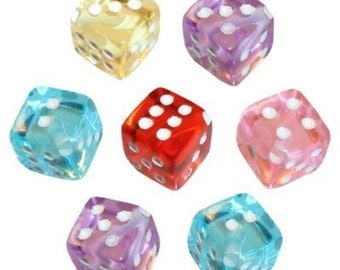 30 Multi-Colored Dice Beads