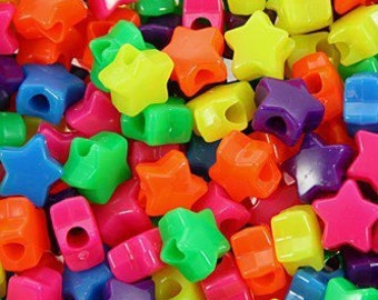 225 Multi-Colored Neon Opaque Star Pony Beads