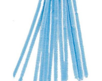 "100 Light Blue Chenille Stems (12"" x 6mm)"