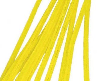 "100 Yellow Chenille Stems (12"" x 6mm)"