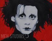 Edward Scissorhands Inspired Pop Art Painting 14x14