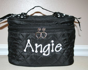 Personalized Black Cosmetic makeup Case