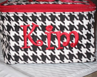 Personalized Houndstooth Red Cosmetic/Makeup case