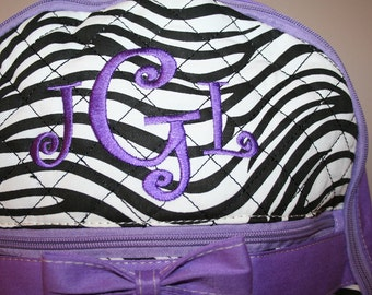 Personalized QUILTED Purple Zebra Backpack