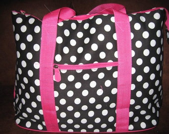 Personalized Large Tote Black, Pink w/white dots