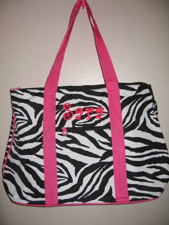 Personalized Large Tote Zebra Pink