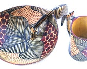 Wooden Carved Bowl and Mug Set From Africa - ZEBRA Design - Wood Art Decor Pieces. ONLY For DECOR