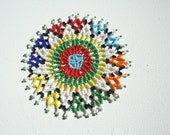 BEADED ART COASTER - Made in Africa - Tribal design - Free Shiping