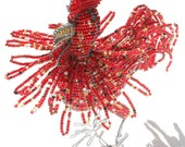 BEADED ROOSTER - Wire Art hand made in AFRICA - Unique beaded sculpture